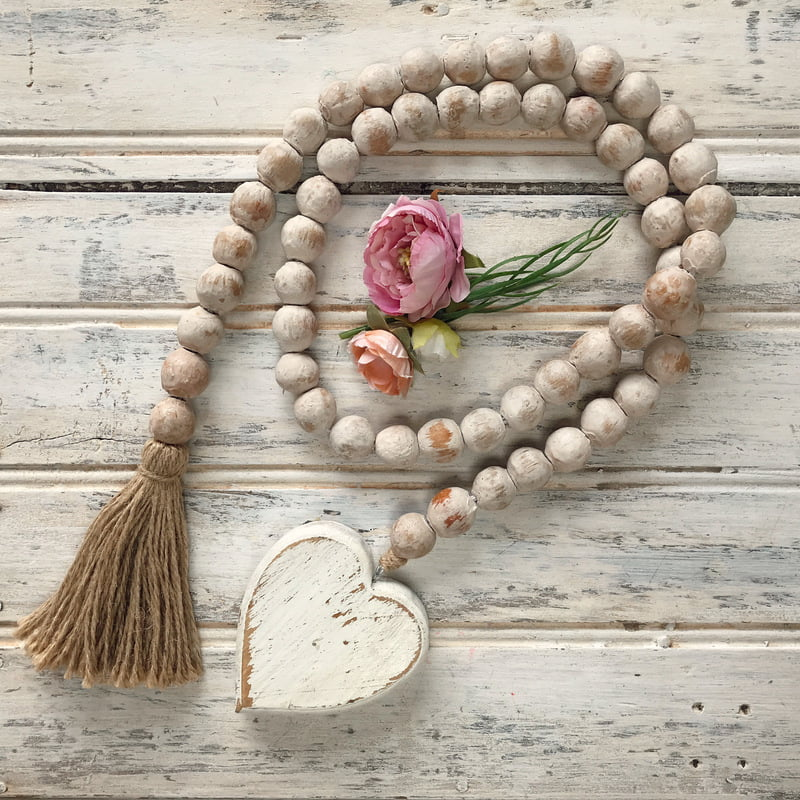 Clay Bead Garland With Tassel And Heart