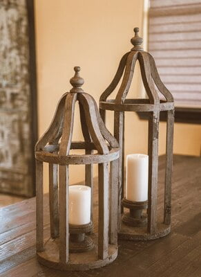 Set of 2 Tall Lanterns